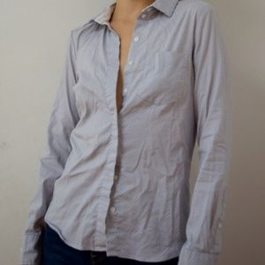 Lightly Used Grey and White Polka Dot Button-Down